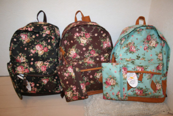 bag bags backpack floral flowers brown bag black bag pink bag orange bag blue bag backpacks