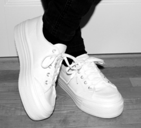 shoes sneakers white plateau