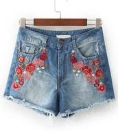 shorts,denim,denim shorts,floral,embroidered