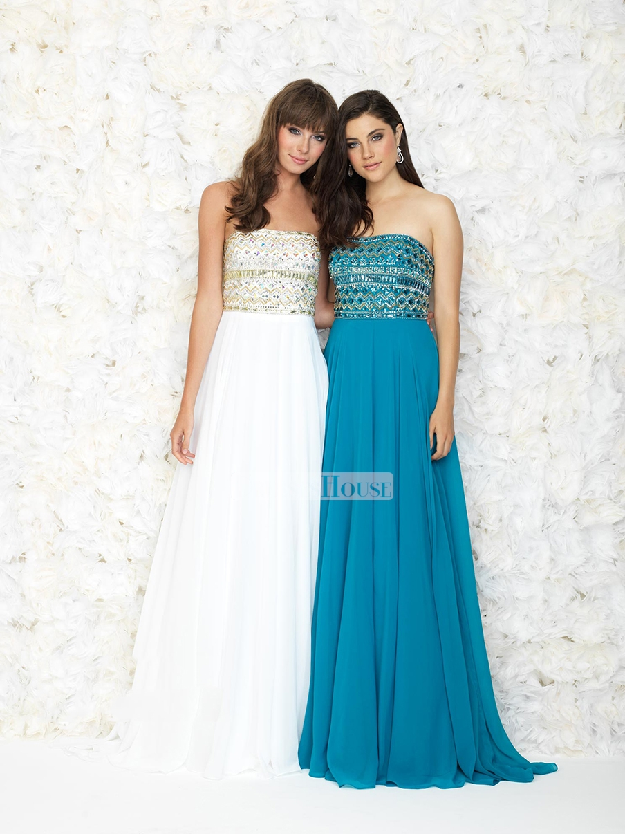 Line strapleess floor length beaded bodice prom dress pd11820 sale online