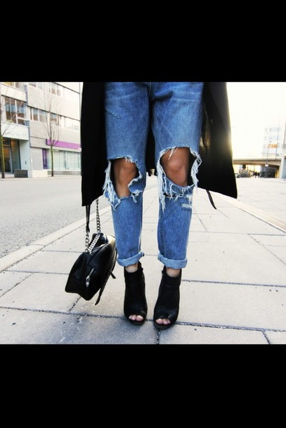 shoes,black,bootie,peep toe heels,leather,jeans,bag,peep toe boots,black peep toe ankle booties