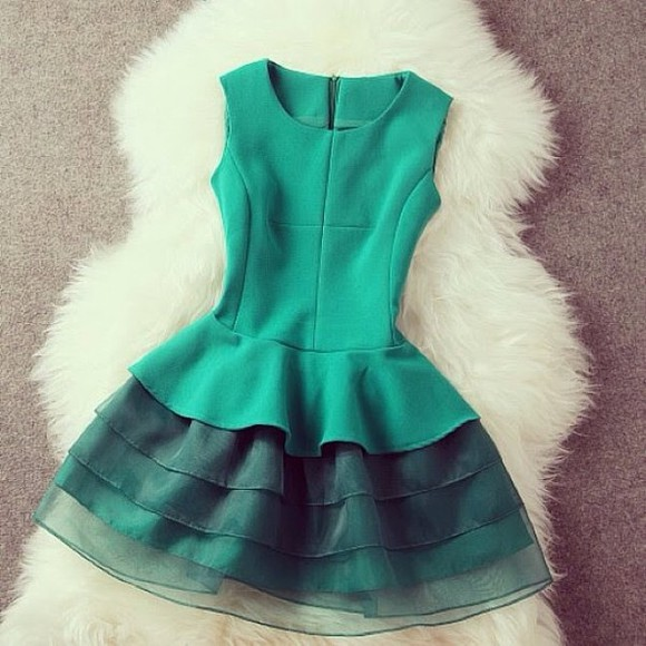 dress sleeveless turquoise ruffle skirt layers beautiful green dress