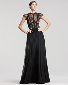 Elie Saab Cap-Sleeve Lace-Bodice Gown - Neiman Marcus