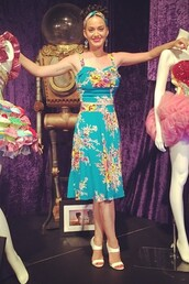 katy perry,sandals,floral dress,skirt,top,shoes