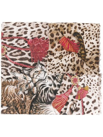 women scarf print brown