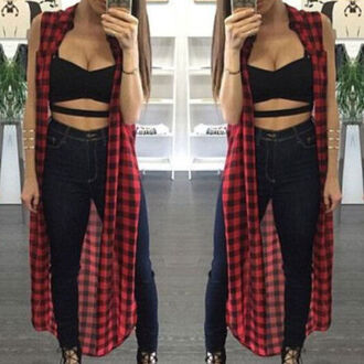 top fashion style plaid red black red plaid sleeveless maxi shirt cool casual streetwear stylish clothes