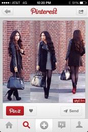 coat,black coat,leather sleeves,medium length,girly biker