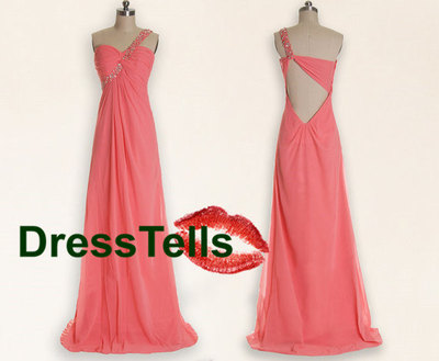 Pink prom dress, long prom dresses, peach prom dresses, chiffon prom dress, party dress,dresses for prom, prom dresses 2014 · dresstells · online store powered by storenvy