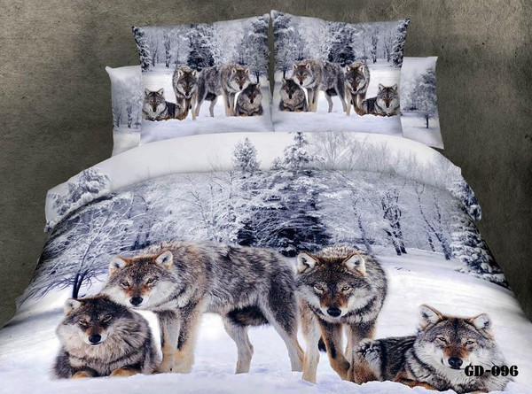 make-up wolves bedding duvet cases pillow covers flat bed sheet home textiles king queen full size bedding