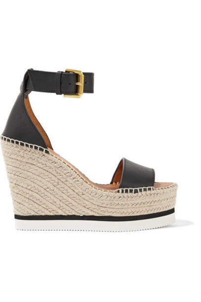 See by Chloé See by Chloé - Leather Espadrille Wedge Sandals - Black