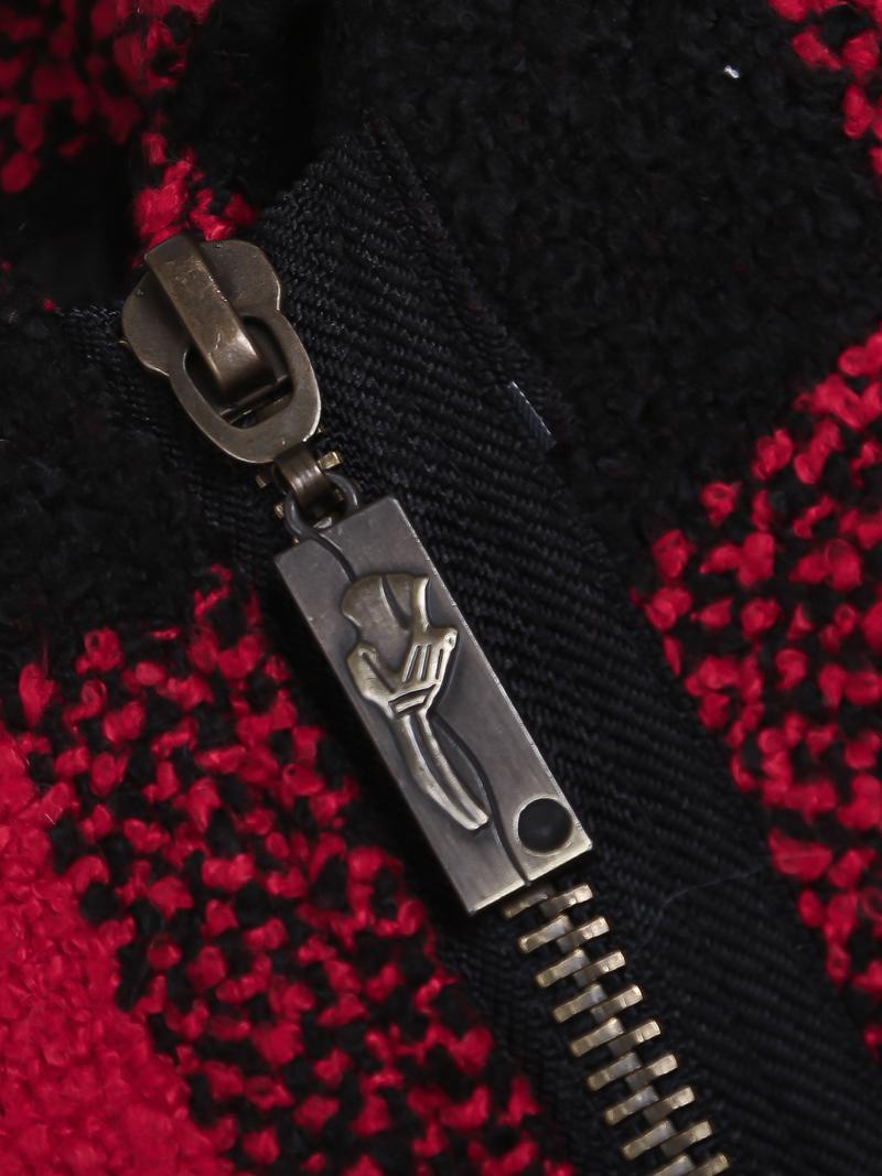 Black Red Plaid Long Sleeve Zipper Woolen Coat - Sheinside.com