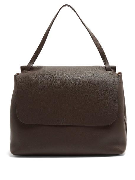 bag shoulder bag leather dark brown