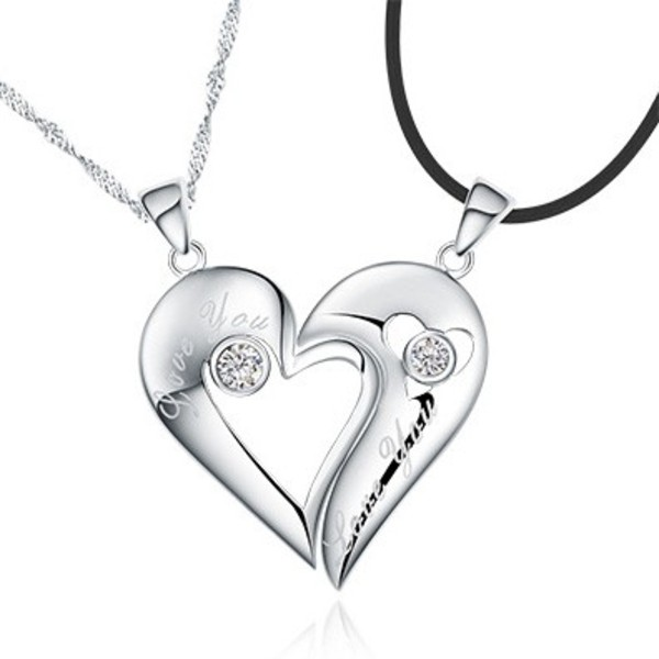 Custom Name 925 Sterling Silver Half Heart Relationship
