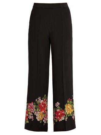 floral silk black pants