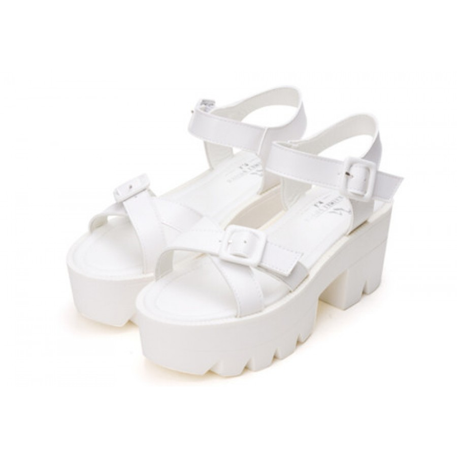 4e17c4ab67e3 White Chunky Cross Strap Platform Buckle Sandals