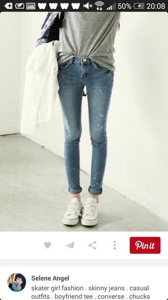 pants denim jeans denim pants white converse grey shirt
