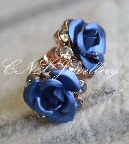 18K Rose Gold GP Blue Rose Flower Swarovski Earring Studs 4 Sensitive N Kids Ear | eBay
