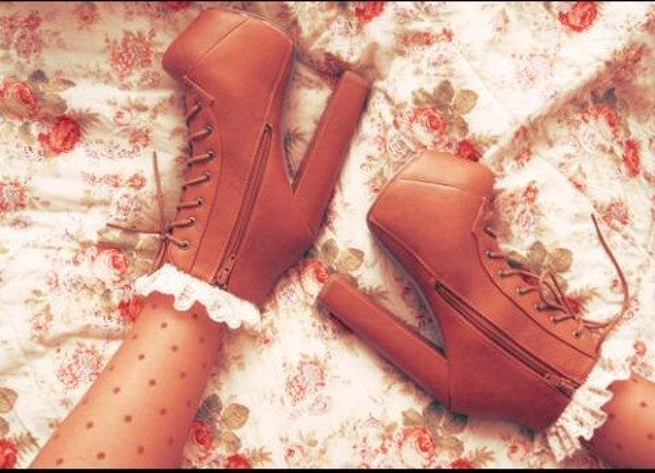 shoes lace socks heels lace up boots booties brown heels brown booties laces ankle socks platform lace up boots brown girly vintage floral pattern lace white high heels lita platform boot socks cute polka dots white lace sweet