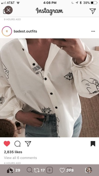 blouse white with black doodles on in it face designs white