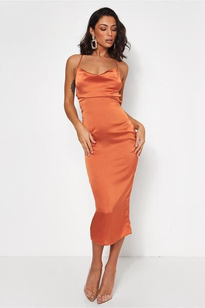 Sia Rust Satin Midi Dress