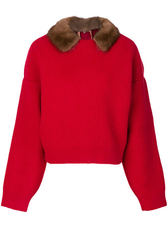 jumper fur women wool red sweater
