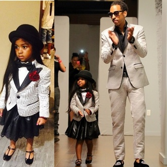 jacket daddy and daughter fashion daddy & me daddy and daughter girl toddler kids fashion grey stripes metallic swag girly leather skirt loafers gentleman members club top hat bowtie