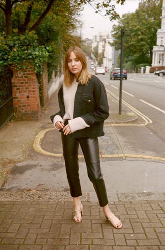 shoes black jacket tumblr sandals pants black pants leather pants jacket top pink top