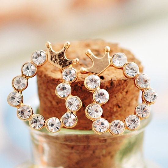 Fashion Elegant Crown Heart Rhinestone Stud Earring