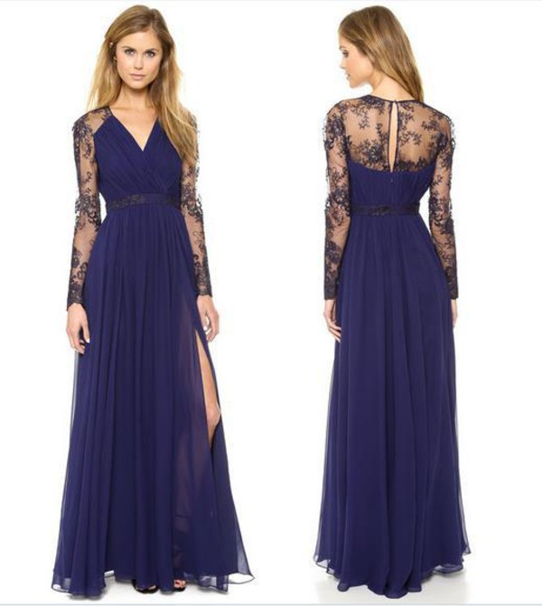 603294cc750 Sexy Lace Long Chiffon Evening Formal Party Cocktail Bridesmaid ...