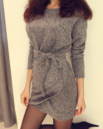 faux simple style scoop neck slimming twinset dress