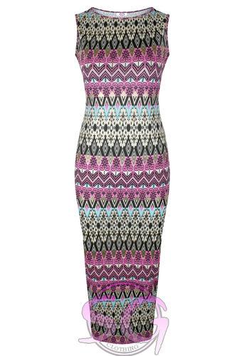 WOMENS LADIES CELEB INSPIRED FOIL AZTEC PRINT SLEEVELESS MIDI BODYCON DRESS | Amazing Shoes UK
