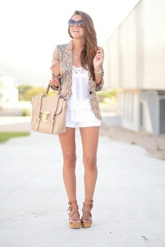 bag summer outfit summer outfits shorts white floral pattern wedges heels tan white shorts white blouse white dress dress ruffle ruffle dress sunglasses nude bag satchel nude sandals retro sunglasses blazer bracelets belted bag jacket shoes snakeskin snakeskin jacket