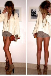 shorts,knit,clothes,girl,heels,blouse,shoes,jewels,shirt,outfit,cute,outfi,summer,summer shorts
