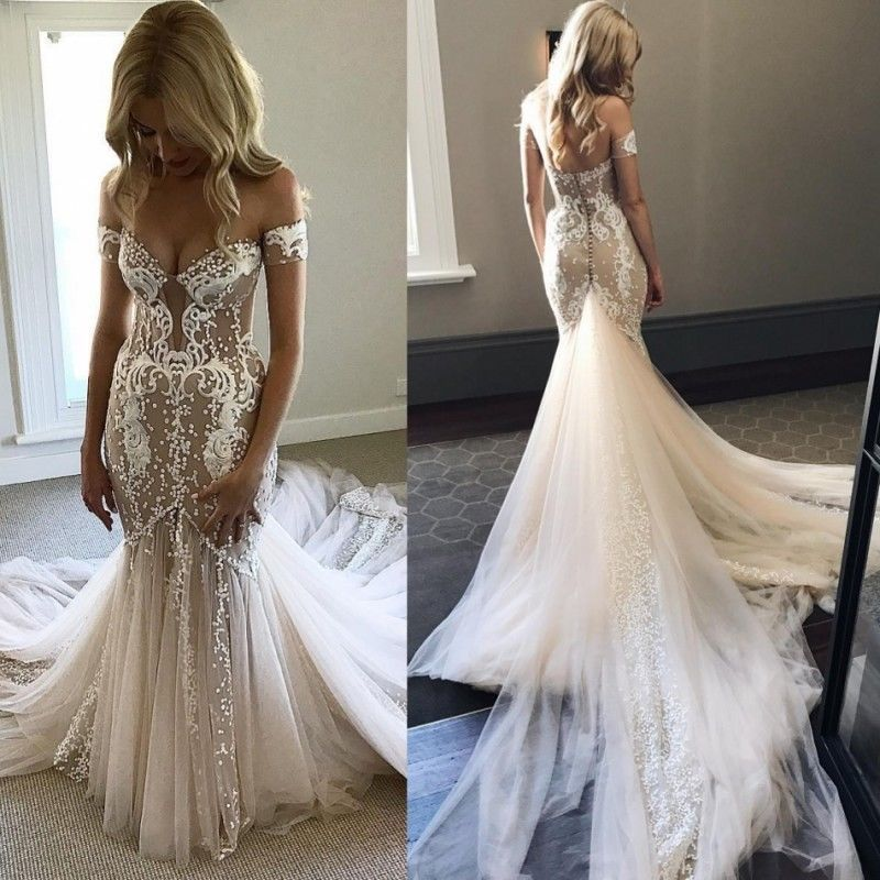 Sexy Off-Shoulder Tulle Mermaid Lace Wedding Dress Luxurious Pearls Bridal Gown