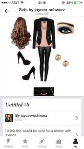 blouse,peplum top,leather leggings,pumps,black pumps,make-up,smokeeyeye,hair,long hair,jewelry,gold jewelry,clutch