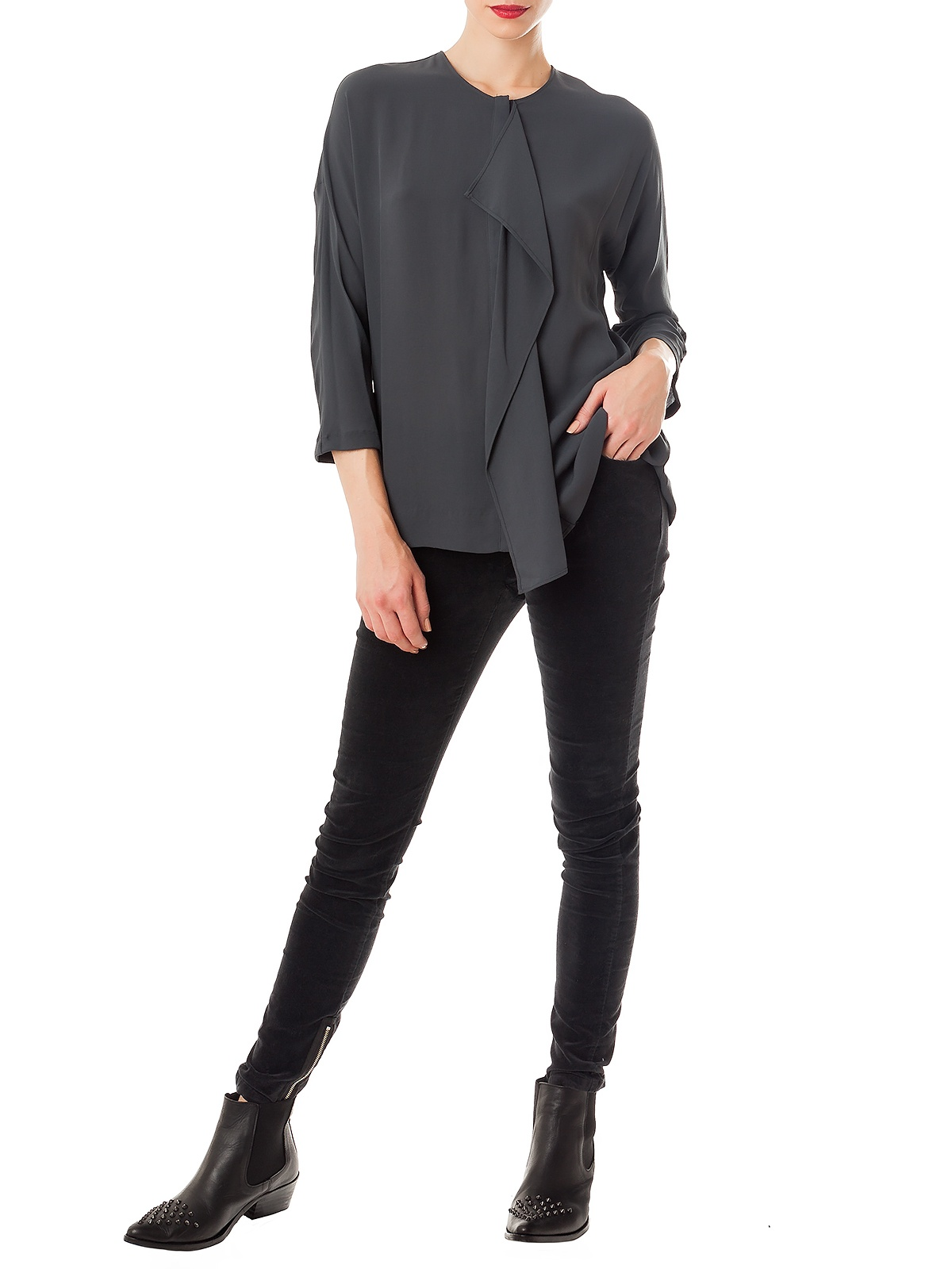 LAKEESHA GREY BLOUSE | GIRISSIMA.COM - Collectible fashion to love and to last