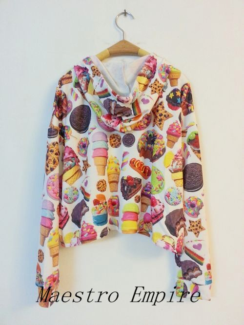 Retro Emo Candy Cookies Ice Cream 3D Print Hoodie Sweater Short Jacket Top | eBay