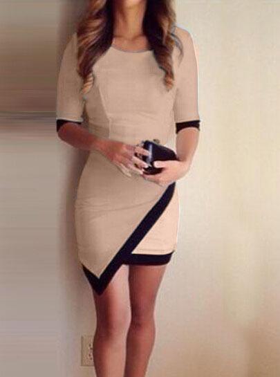 Nextshe fashion women dress asymmetrical black hem khaki casual vestido sexy skinny