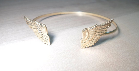Open bangle double wing cuff bangle bracelet