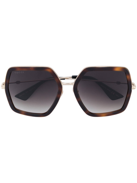 Gucci Eyewear - oversized sunglasses - women - Acetate/metal - 56, Brown, Acetate/metal