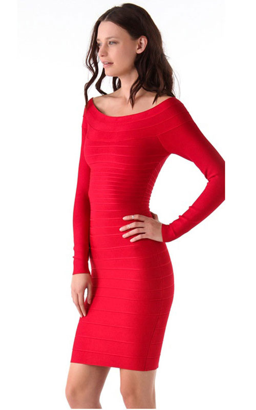 Afforable Herve Leger Long Sleeves Red Bandage Dress Online [Herve Leger Long Sleeves Red Bandage] - $162.00 :