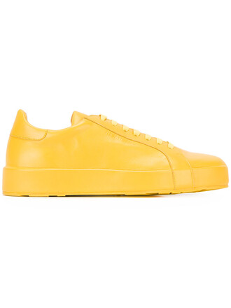 women sneakers lace leather yellow orange shoes