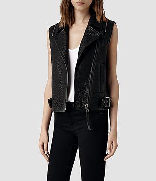 Womens Alford Leather Biker Jacket (Black) | ALLSAINTS.com