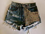 shorts,denim shorts,studs,summer outfits,High waisted shorts