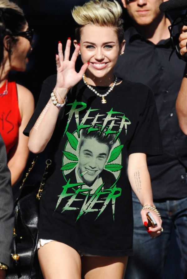 shirt green justin bieber miley cyrus weed smoke marijuana t-shirt