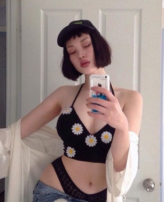 top black and white daisy sexy cap cropped slay asian halter top