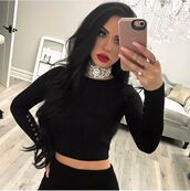 shirt,carli bybel,choker necklace,long sleeves,long sleeve crop top,long sleeve dress,black,black crop top,lace up,lace up top,celebrity style,celebstyle for less,celebrity,youtuber,blogger,classy,elegant,holiday season,holiday dress,christmas dress,new year's eve,date outfit,birthday dress,clubwear