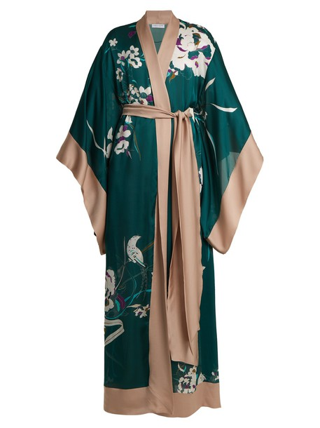 Carine Gilson kimono floral print silk satin green top