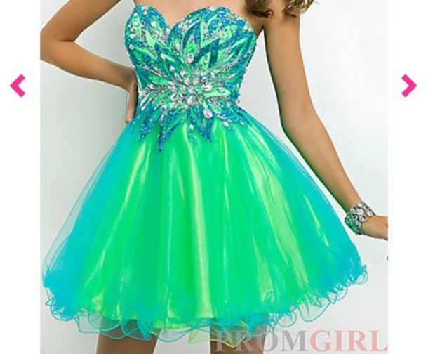Dress: strapless prom dress, prom dress, short prom dress, neon ...