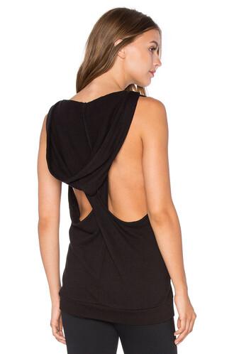 hoodie sleeveless black